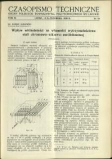 Czasopismo Techniczne : 1938 : nr 19