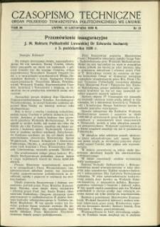 Czasopismo Techniczne : 1938 : nr 21
