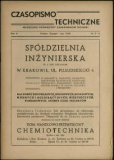Czasopismo Techniczne : 1948 : nr 1-2
