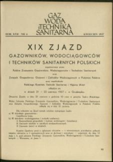 Gaz, Woda i Technika Sanitarna : 1937 : nr 4