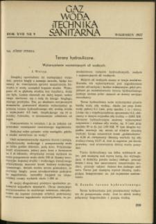Gaz, Woda i Technika Sanitarna : 1937 : nr 9