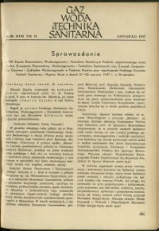 Gaz, Woda i Technika Sanitarna : 1937 : nr 11