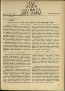 Gaz, Woda i Technika Sanitarna : 1938 : nr 4