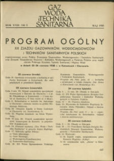 Gaz, Woda i Technika Sanitarna : 1938 : nr 5