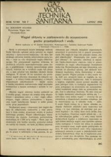 Gaz, Woda i Technika Sanitarna : 1938 : nr 7