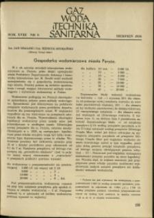 Gaz, Woda i Technika Sanitarna : 1938 : nr 8