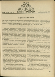 Gaz, Woda i Technika Sanitarna : 1938 : nr 10