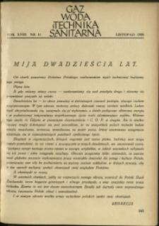 Gaz, Woda i Technika Sanitarna : 1938 : nr 11