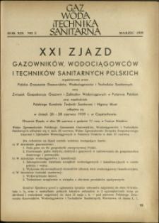 Gaz, Woda i Technika Sanitarna : 1939 : nr 3