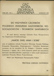 Gaz, Woda i Technika Sanitarna : 1939 : nr 4
