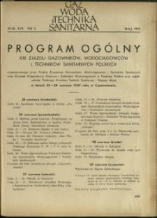 Gaz, Woda i Technika Sanitarna : 1939 : nr 5