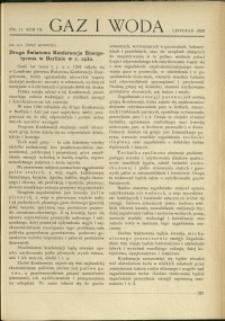 Gaz i Woda : 1929 : nr 11