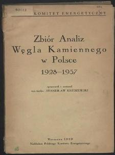 Zbiór analiz węgla kamiennego w Polsce 1928-1937
