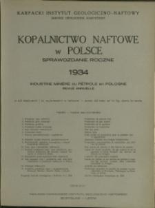 Kopalnictwo Naftowe w Polsce : 1934 : Sprawozdanie Roczne