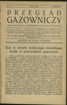 Przegląd Gazowniczy : 1921 : nr 5