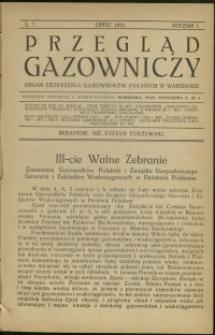 Przegląd Gazowniczy : 1921 : nr 7