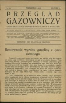 Przegląd Gazowniczy : 1921 : nr 10
