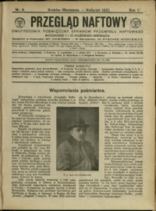 Przegląd Naftowy : 1921 : nr 4