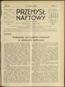 Przemysł Naftowy : 1927 : nr 7