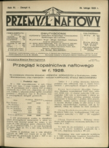 Przemysł Naftowy : 1929 : nr 4