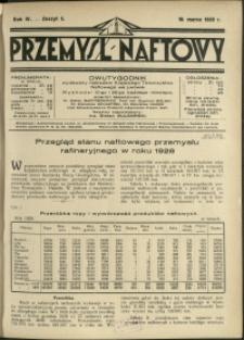 Przemysł Naftowy : 1929 : nr 5