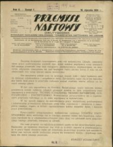Przemysł Naftowy : 1930 : nr 1