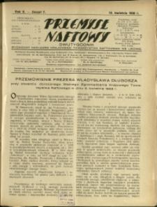 Przemysł Naftowy : 1930 : nr 7