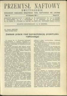 Przemysł Naftowy : 1931 : nr 21