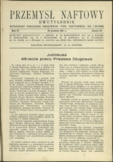 Przemysł Naftowy : 1931 : nr 24