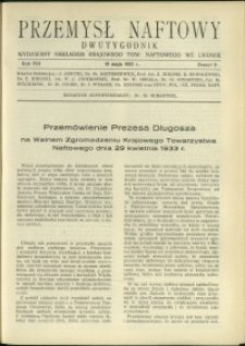 Przemysł Naftowy : 1933 : nr 9