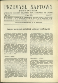 Przemysł Naftowy : 1933 : nr 17