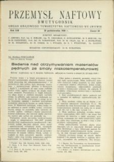 Przemysł Naftowy : 1938 : nr 20