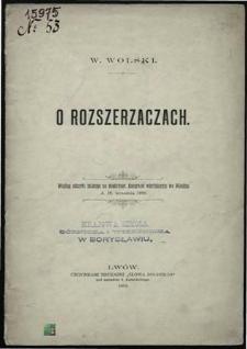 O rozszerzaczach : Według odczytu mianego na międzynarodowym kongresie wiertniczym we Wiedniu d. 19 września 1898.