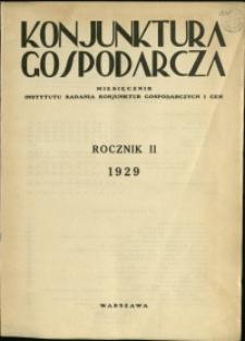 Konjunktura Gospodarcza : 1929 : nr 1