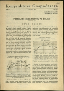 Konjunktura Gospodarcza : 1931 : nr 1