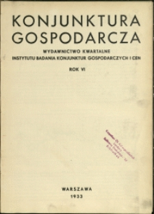Konjunktura Gospodarcza : 1933 : nr 1