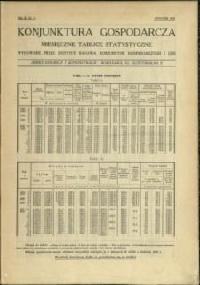 Konjunktura gospodarcza : Miesięczne Tablice Statystyczne : 1933 : nr 1