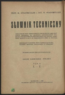 Technisches Wörterbuch : Deutsch - Polnischer Teil. Bd. 2, L - Z