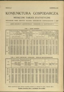 Konjunktura gospodarcza : Miesięczne Tablice Statystyczne : 1934 : nr 6