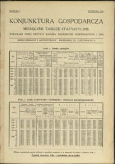 Konjunktura gospodarcza : Miesięczne Tablice Statystyczne : 1934 : nr 9