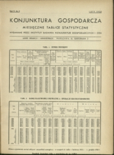 Konjunktura gospodarcza : Miesięczne Tablice Statystyczne : 1935 : nr 2