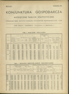 Konjunktura gospodarcza : Miesięczne Tablice Statystyczne : 1935 : nr 9
