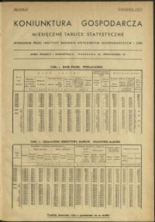 Koniunktura gospodarcza : Miesięczne Tablice Statystyczne : 1937 : nr 12