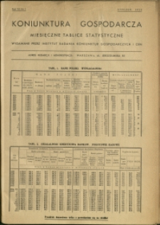 Koniunktura gospodarcza : Miesięczne Tablice Statystyczne : 1938 : nr 1