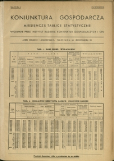 Koniunktura gospodarcza : Miesięczne Tablice Statystyczne : 1938 : nr 4