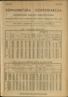 Koniunktura gospodarcza : Miesięczne Tablice Statystyczne : 1938 : nr 5