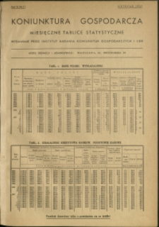 Koniunktura gospodarcza : Miesięczne Tablice Statystyczne : 1937 : nr 11