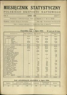 Miesięcznik Statystyczny Polskiego Eksportu Naftowego : 1934 : nr 7