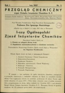 Przegląd Chemiczny : organ Związku Inżynierów Chemików RP : 1937 : nr 2