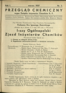 Przegląd Chemiczny : organ Związku Inżynierów Chemików RP : 1937 : nr 3